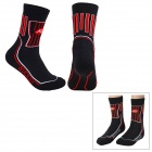 NUCKILY EH03 Cycling Thicken Quick-drying Socks - Black + Red (Pair)