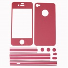 Stylish Decorative Full Front Screen Protector + Back Skin Sticker Set for Iphone 4 / 4s - Deep Pink