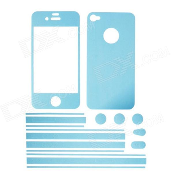 Stylish Decorative Full Front Screen Protector + Back Skin Sticker Set for Iphone 4 / 4s - Sky Blue - DXStickers<br>Color Blue Brand Elonbo Model F73Q Quantity 1 Set Material PU Compatible Models Iphone 4Iphone 4S Screen Type Matte Style Screen protectorBody StickerHome Buttom Sticker Packing List 1 x Front Screen Sticker 1 x Back Sticker 1 x Side Sticker<br>