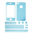 Stylish Decorative Full Front Screen Protector + Back Skin Sticker Set for Iphone 4 / 4s - Sky Blue
