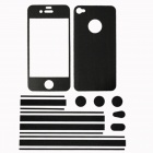 Stylish Decorative Full Front Screen Protector + Back Skin Sticker Set for Iphone 4 / 4s - Black