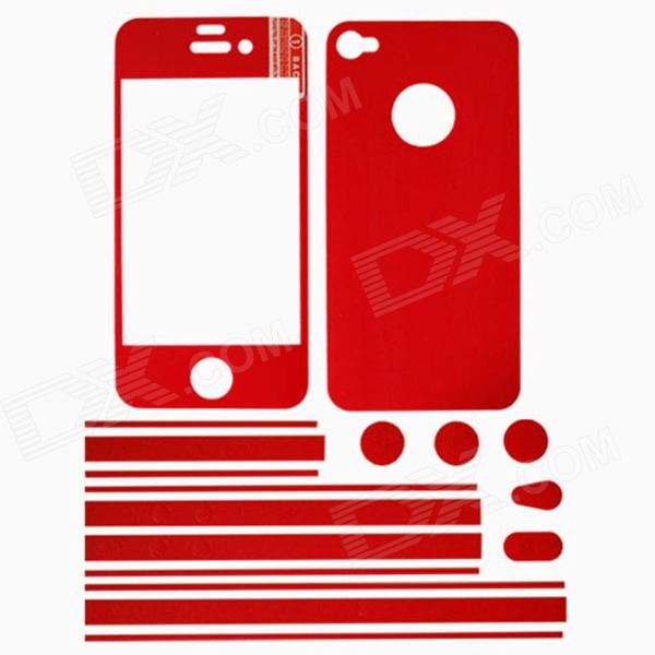 Stylish Decorative Full Front Screen Protector + Back Skin Sticker Set for iPhone 4 / 4s - Red