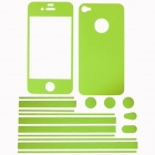Stylish Decorative Full Front Screen Protector + Back Skin Sticker Set for Iphone 4 / 4s - Green