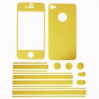 Stylish Decorative Full Front Screen Protector + Back Skin Sticker Set for Iphone 4 / 4s - Yellow