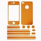 Stylish Decorative Full Front Screen Protector + Back Skin Sticker Set for Iphone 4 / 4s - Orange