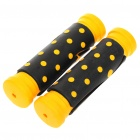Comfortable Rubber Bicycle Handle Bar Grips - Black + Yellow (Pair)