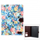 Protective Flower Pattern PU Leather Case w/ Card Slot for Ipad AIR - Multicolored + Light Blue