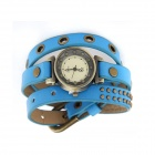 Fashionable Rivets on The Leather Bracelet Watch - Blue + White + Antique Copper