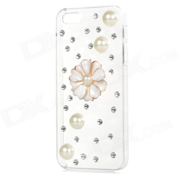 Pearl & Rhinestone Flower Style Protective Plastic Back Case for Iphone 5 / 5s - Transparent + Beige protective alloy horse decoration rhinestone studded back case for iphone 5 white transparent