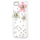 Flower Style Protective Rhinestone + Plastic Back Case for Iphone 5 / 5s - Transparent