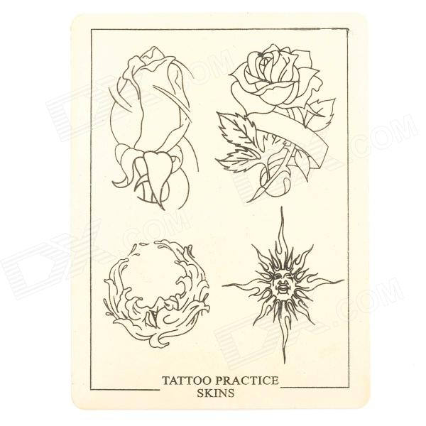 JUQI Rose Pattern Tattoo Practice Skin Sheet - White + Beige