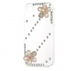 Pearl & Rhinestone Flower Style Protective Plastic Back Case for Iphone 4 / 4s - Transparent