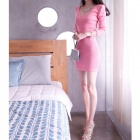 Fashion Slim Cotton Long-Sleeve Dress for Women - Pink (XL)