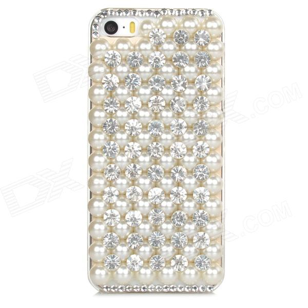 Protective Pearl & Rhinestone Decoration PC Back Case for Iphone 5 / 5s - White protective alloy horse decoration rhinestone studded back case for iphone 5 white transparent