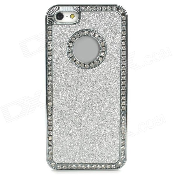 Stylish ABS + Rhinestone Back Case for Iphone 5 / 5s - Silver stylish women s satchel with rhinestone and rivet design