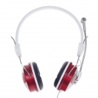 Raoopt RP-1523 Stereo Sound Headphones w/ Microphone / Wired Control - White + Red + Black