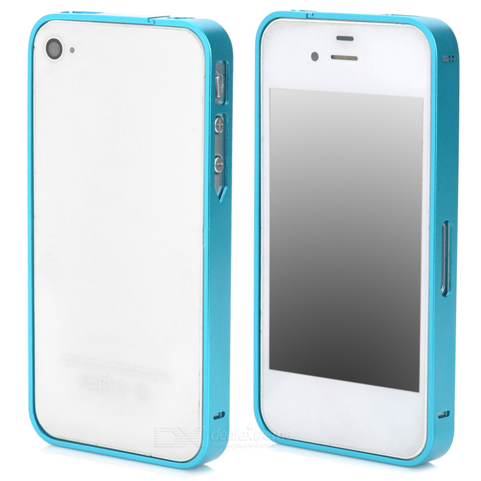 S-What Ultra-Slim Aluminum Alloy Bumper Frame Case for Iphone 4 / 4s - Blue