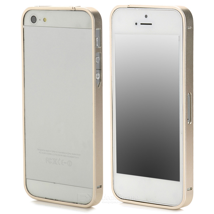 S-What Ultra-Slim Aluminum Alloy Bumper Frame Case for Iphone 5 / 5s - Champagne nillkin gothic series ultra slim aluminum alloy bumper frame case for iphone 6 silver