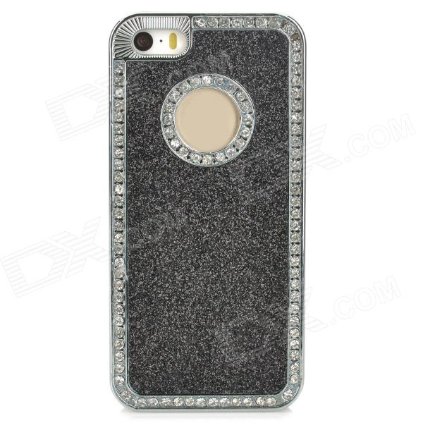 Stylish ABS + Rhinestone Back Case for Iphone 5 / 5s - Black + Silver point back rhinestone ss4 14400pieces 100gross jet black color chaton free shipping