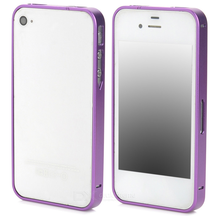 S-What Ultra-Slim Stylish Aluminum Alloy Bumper Frame Case for Iphone 4 / 4s - Purple