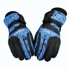 Universal Fashion Thick Warm Ski Gloves - Blue + Black (Free Size)