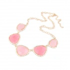Fashionable Metallic Geometrical Polygons Necklace - Golden + Pink