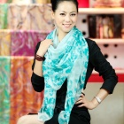 ZHIBUREN Summer Long Large Lady Floral Scarf - Blue