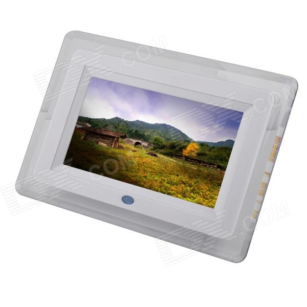 "C20131125001 7"" TFT Desktop Digital Photo Frame w/ Light / SD / MMC / USB / Earphone / DC In - White"