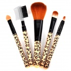 Portable Leopard Pattern Makeup Brush Tool Set - Khaki + Black (5 PCS)