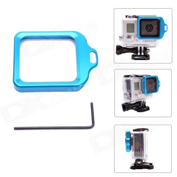 Fat Cat High Precision CNC Alluminum Alloy Lens Strap Ring for Gopro Hero 3+ - Blue hr113 gn high precision cnc aluminum alloy lens strap ring for gopro hero 3 green