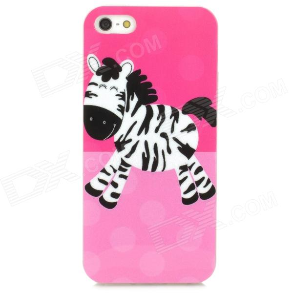 Cute Horse Cartoon Pattern TPU Back Case for Iphone 5 - Pink + White glossy tpu jelly cartoon pattern mobile case phone accessory for iphone 7 plus 5 5 inch shark