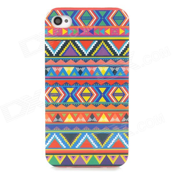 Stylish Triangles Graffiti Pattern TPU Back Case for Iphone 4 / 4s - ACU stylish bubble pattern protective silicone abs back case front frame case for iphone 4 4s