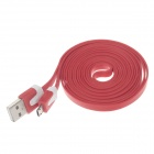 Flat Micro USB Male to USB 2.0 Male Data Sync / Charging Cable for Samsung + More - Red (200cm)