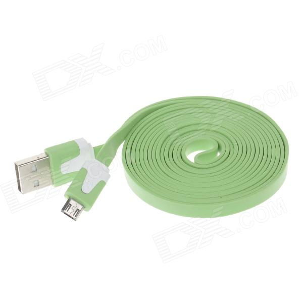 Flat Micro USB Male to USB 2.0 Male Data Sync / Charging Cable for Samsung + More - Green (200cm) vojo flat micro usb male to usb 2 0 male data sync charging cable for samsung miui htc green