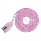 Flat Micro USB Male to USB 2.0 Male Data Sync / Charging Cable for Samsung + More - Pink (200cm)