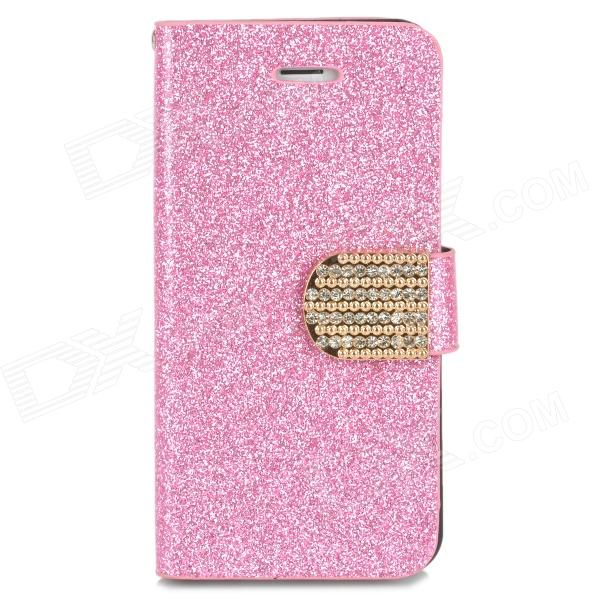 Stylish PU + Rhinestone + Plastic Case w/ Stand / Card Slot for Iphone 5 / 5s - Pink kinston flowers butterfly pattern pu plastic case w stand for iphone 6 plus multicolored