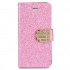 Stylish PU + Rhinestone + Plastic Case w/ Stand / Card Slot for Iphone 5 / 5s - Pink