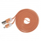 Flat Micro USB Male to USB 2.0 Male Data Sync / Charging Cable for Samsung + More - Orange (200cm)