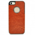Protective PC + PU Leather Back Case for Iphone 5S - Brown
