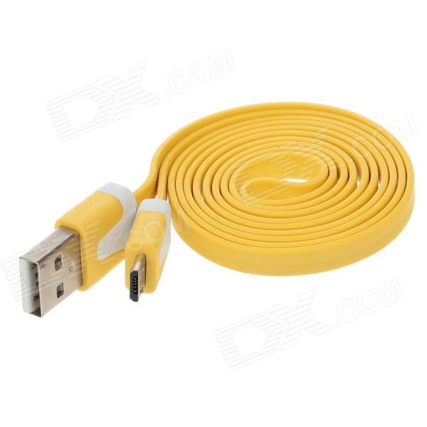 Flat Micro USB Male to USB 2.0 Male Data Sync / Charging Cable for Samsung + More - Yellow (100cm) nylon usb 2 0 male to micro usb male data sync charging cable for samsung more yellow 100cm