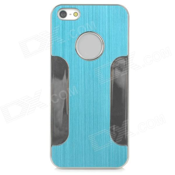 DETI-002 Stylish PC + Alloy Back Case for Iphone 5 / 5s - Light Blue