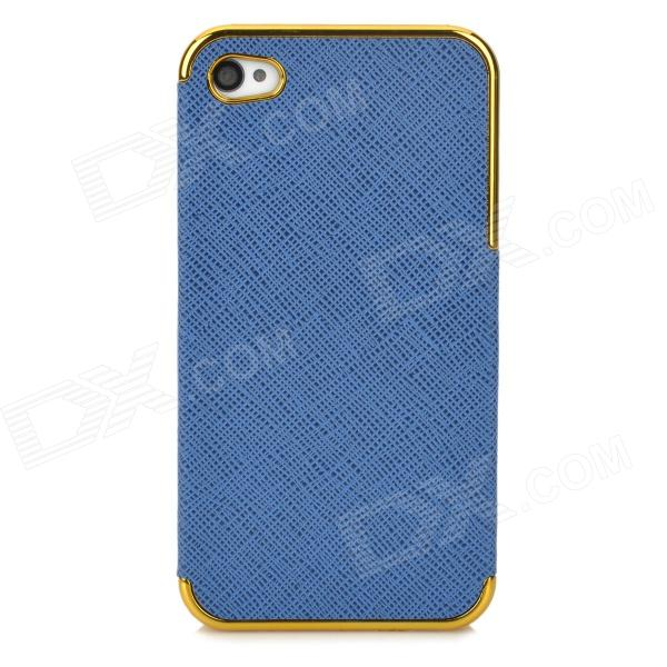 ZZ001 Stylish PU + PC Back Case for Iphone 4 / 4s - Blue + Golden