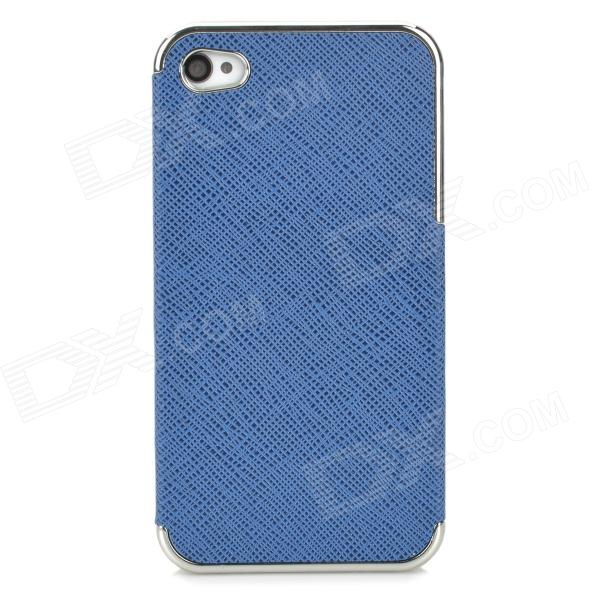 ZZ001 Stylish PU + PC Back Case for Iphone 4 / 4s - Blue + Antique Silver