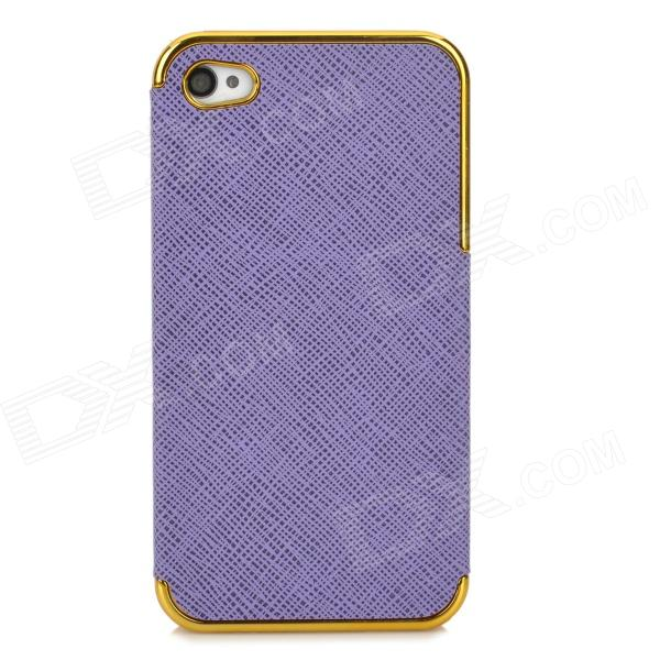 ZZ001 Stylish PU + PC Back Case for Iphone 4 / 4s - Purple + Golden