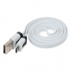 Flat Micro USB Male to USB 2.0 Male Data Sync / Charging Cable for Samsung + More - White (100cm)
