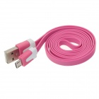 Piso Micro USB macho a USB 2.0 Male Data Sync / cable de carga para Samsung + Más-de color rosa oscuro (100cm)