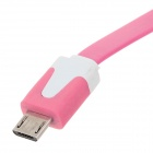 Flat Micro USB Male to USB 2.0 Male Data Sync / Charging Cable for Samsung + More -Deep Pink (100cm)