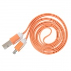 Flat Micro USB Male to USB 2.0 Male Data Sync / Charging Cable for Samsung + More - Orange (100cm)