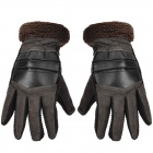 Fashion Pigskin Velvet Warm Full-Finger Gloves for Men - Coffee (XXL / Pair)