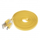 Flat Micro USB Male to USB 2.0 Male Data Sync / Charging Cable for Samsung + More - Yellow (200cm)